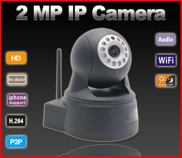 G-Eye01W-Black 2.0MP P2P WIFI One-Key Setting Video Push IP Camera